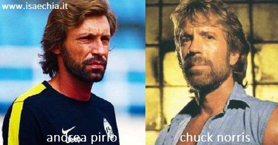 Somiglianza tra Andrea Pirlo e Chuck Norris