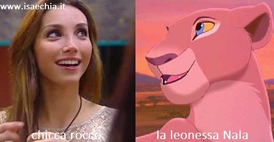 Somiglianza tra Chicca Rocco e la leonessa Nala