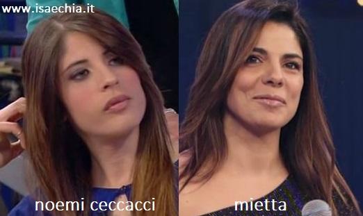 Somiglianza tra Noemi Ceccacci e Mietta