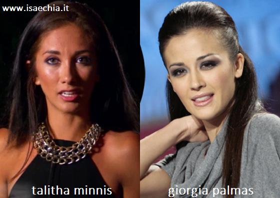 Somiglianza tra Talitha Minnis e Giorgia Palmas