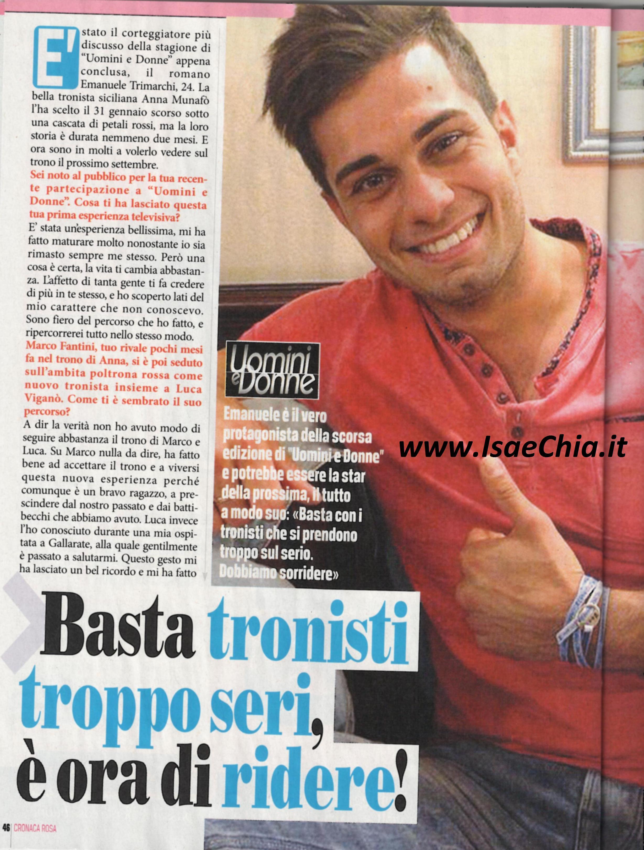 Emanuele trimarchi intervistato da chia per cronaca rosa for Criceto morto