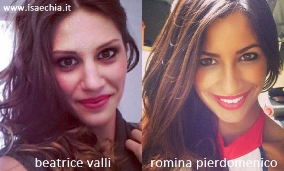 Somiglianza tra Beatrice Valli e Romina Pierdomenico