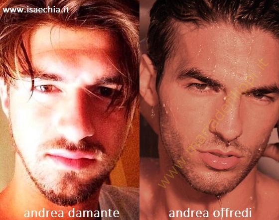 Somiglianza tra Andrea Damante e Andrea Offredi