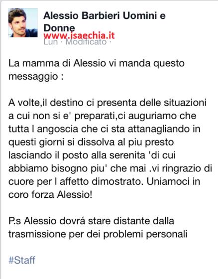 La mamma di Alessio Barbieri su Facebook