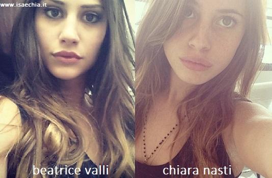 Somiglianza tra Beatrice Valli e Chiara Nasti