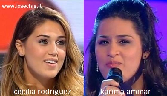 Somiglianza tra Cecilia Rodriguez e Karima Ammar