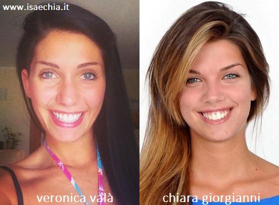 Somiglianza tra Veronica Valà e Chiara Giorgianni