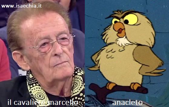 Somiglianza tra il cavaliere Marcello e Anacleto de 'La Spada nella Roccia'