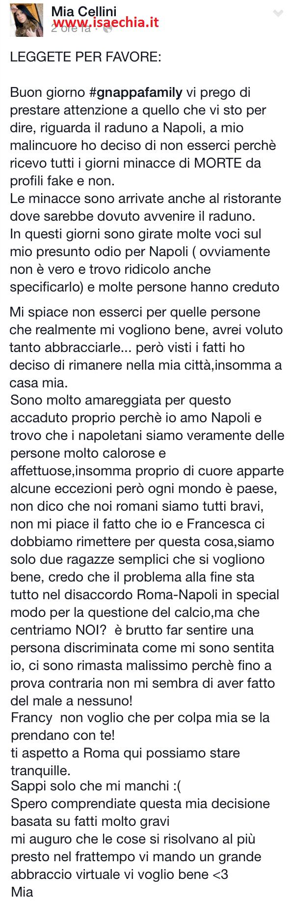 Mia Cellini su Facebook
