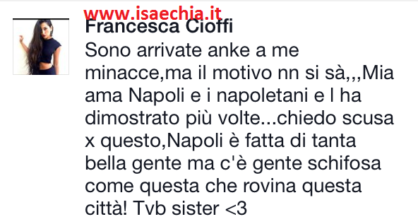 Francesca Cioffi su Facebook