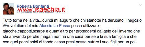 Roberta Bonfanti su Facebook