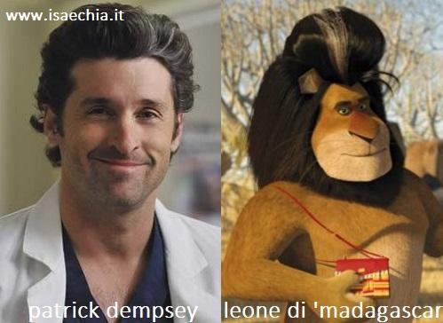 Somiglianza tra Patrick Dempsey e il leone di 'Madagascar 2'
