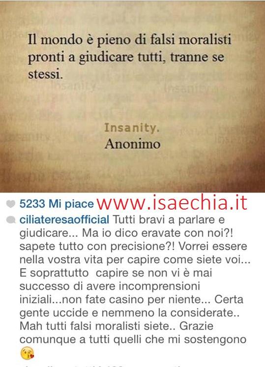 Teresa cilia su instagram replica alle critiche siete - Portati al litigio ...