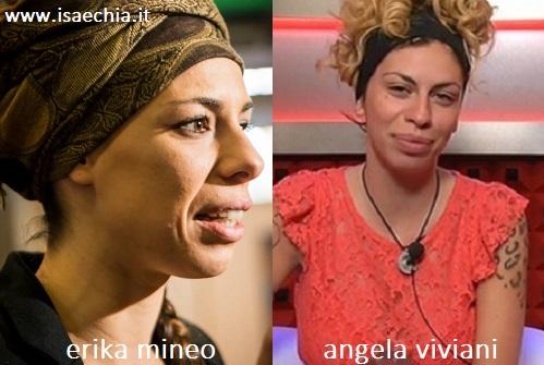 Somiglianza tra Erika Mineo, in arte Amara, e Angela Viviani