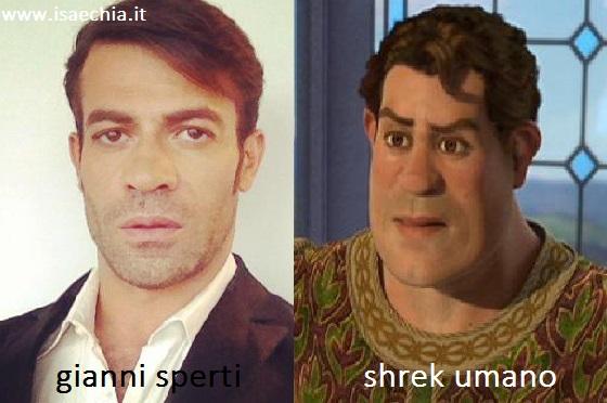 Somiglianza tra Gianni Sperti e Shrek