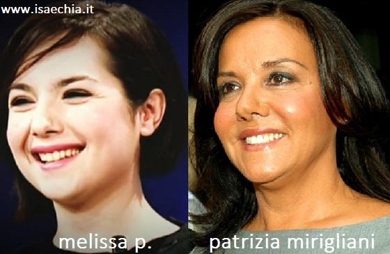 Somiglianza tra Melissa P. e Patrizia Mirigliani
