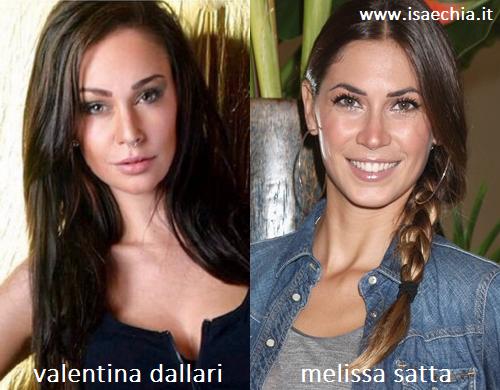 Somiglianza tra Valentina Dallari e Melissa Satta