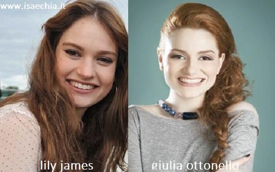 Somiglianza tra Giulia Ottonello e Lily James