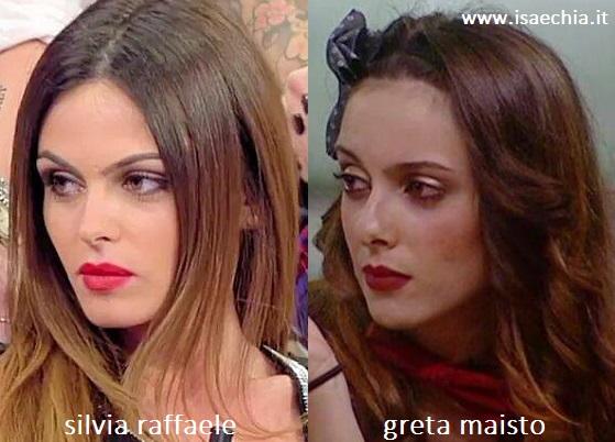 Somiglianza tra Silvia Raffaele e Greta Maisto