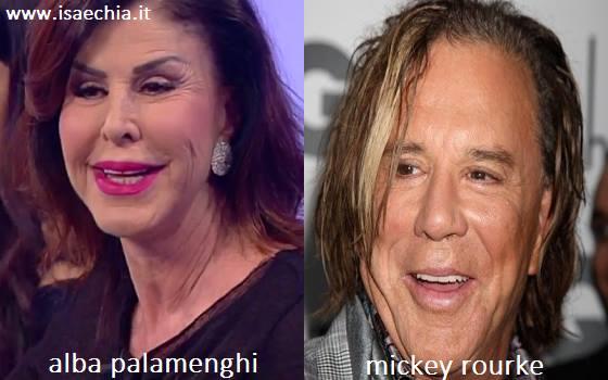 Somiglianza tra Alba Palamenghi e Mickey Rourke