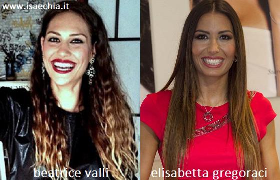 Somiglianza tra Beatrice Valli ed Elisabetta Gregoraci