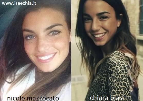 Somiglianza tra Nicole Mazzocato e Chiara Biasi