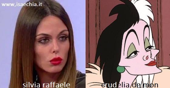 Somiglianza tra Silvia Raffaele e Crudelia De Mon