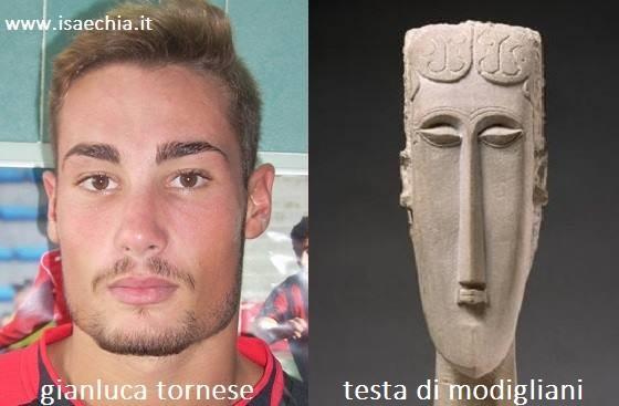 Somiglianza tra Gianluca Tornese e le teste di Modigliani