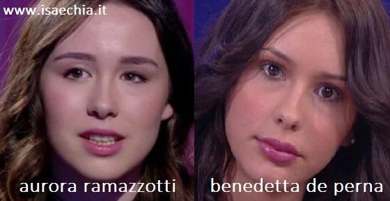 Somiglianza tra Aurora Ramazzotti e Bendetta De Perna