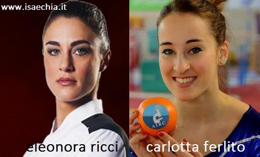 Somiglianza tra Eleonora Ricci e Carlotta Ferlito