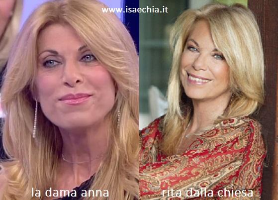 Somiglianza tra Anna, dama del Trono over di 'Uomini e Donne', e Rita Dalla Chiesa