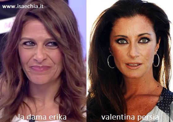 Somiglianza tra Erika, dama del Trono over di 'Uomini e Donne', e Valentina Persia