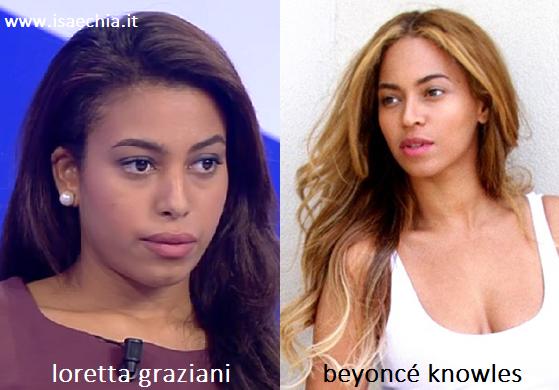 Somiglianza tra Loretta Graziani e Beyoncé Knowles