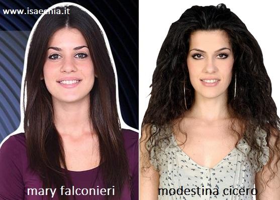 Somiglianza tra Mary Falconieri e Modestina Cicero