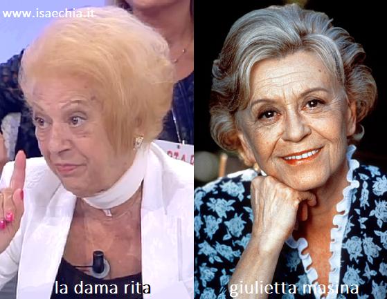 Somiglianza tra Rita, dama del Trono over di 'Uomini e Donne', e Giulietta Masina
