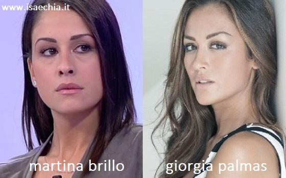 Somiglianza tra Martina Brillo e Giorgia Palmas