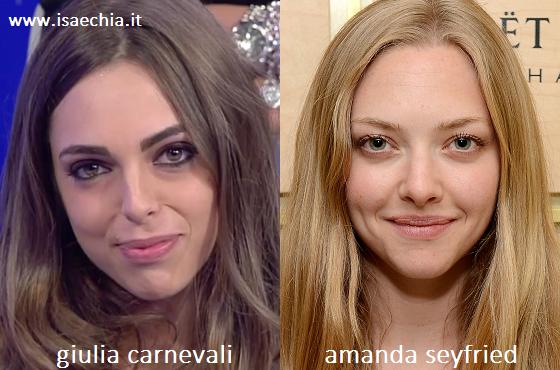 Somiglianza tra Giulia Carnevali e Amanda Seyfried