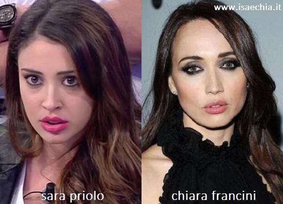 Somiglianza tra Sara Priolo e Chiara Francini