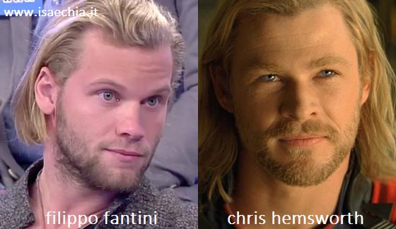 Somiglianza tra Filippo Fantini e Chris Hemsworth