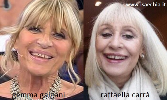 Somiglianza tra Gemma Galgani e Raffaella Carrà