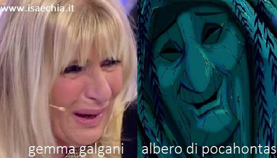 Somiglianza tra Gemma Galgani e l'albero parlante di Pocahontas