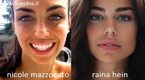 Somiglianza tra Nicole Mazzocato e Raina Hein