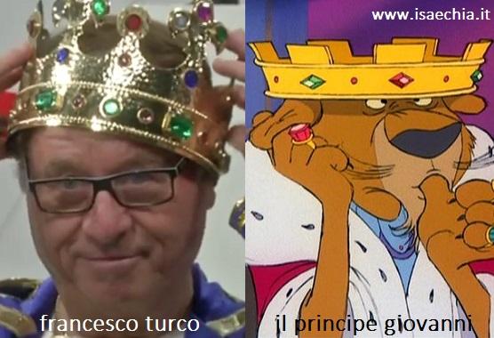 Somiglianza tra Francesco Turco e il Principe Giovanni di 'Robin Hood'