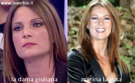 Somiglianza tra Giuliana e Marina La Rosa