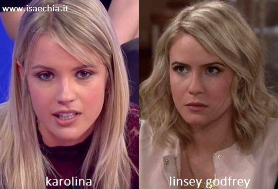 Somiglianza tra Karolina, corteggiatrice di Lucas Peracchi, e Linsey Godfrey