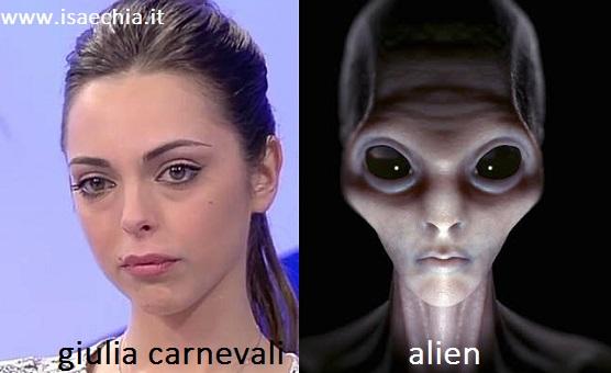 Somiglianza tra Giulia Carnevali e Alien