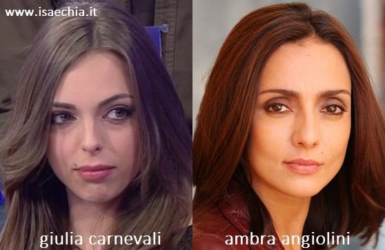 Somiglianza tra Giulia Carnevali e Ambra Angiolini