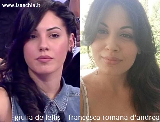 Somiglianza tra Giulia De Lellis e Francesca Romana D'Andrea