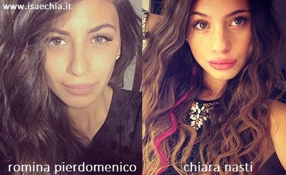 Somiglianza tra Romina Pierdomenico e Chiara Nasti