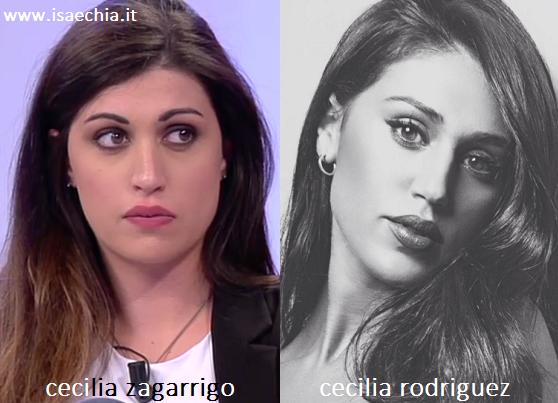 Somiglianza tra Cecilia Zagarrigo e Cecilia Rodriguez